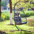 Indoor Outdoor Patio Wicker Hanging Chair Swing Chair with Cushion Seat Home Garden Padded Couch