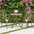 Belleze 3PC Bistro Set Outdoor Patio Cast Aluminum Table and Chair Antique, Bronze