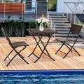 UWR-Nite 3 Pieces Outdoor Patio Furniture Set, Outdoor Wicker Conversation Set, Patio Rattan Chair Set, Modern Bistro Set with Coffee Table for Garden, Pool, Backyard