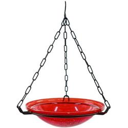 """Achla Designs BBH-02R 12"""" Crackle, Red 12 inch Glass Hanging birdbath, INVITE NATURE TO YOUR YARD: Looking for garden decorations and accessories to draw wildlife.., By Brand Achla"""