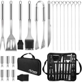 Kupton 21Pcs BBQ Grill Tool Set, Heavy Duty Stainless Steel Barbecue Grill Accessories Kit with Grill Tongs Shovel Fork Knife, Gift for Outdoor Grilling