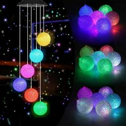 Solar Wind Chime Color Changing Solar Mobile Light Crystal Ball LED Wind Chime Solar Powered Wind Mobile Waterproof Outdoor Decor Romantic Wind Bell Light