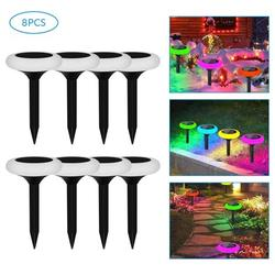 Solar Pathway Lights, 7 Color Solar Garden Lights, Solar Walkway Lights Outdoor, Solar Garden Lights Waterproof for Garden, Patio Yard Landscape Pathway and Driveway, 8Pack, J76