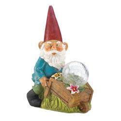 Ancient Gnome With Wheel Barrow Solar Statue