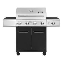 Monument Grills 4-Burner Propane Gas Grill in Black with LED Controls and Side Burner