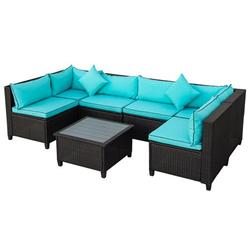 7 Pieces Patio Conversation Sofa Set, Low Back Outdoor Patio Furniture Set, PE Rattan Sectional Sofa with Tea Table & Couch Cushions, Garden Poolside Backyard Porch Outdoor Wicker Sofa Set, JA1845
