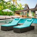 Patio Lounge Chairs Set of 2, BTMWAY Outdoor Rattan Patio Chaise Lounge Chairs Set, PE Wicker Patio Lounge Set, Adjustable Backrest Patio Conversation Chair Set w/Shelving Board Cushion, Blue, A3165