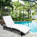 Patio Chaise Lounge Chair, Rattan Wicker Chaise Lounge, All-Weather Sun Chaise Lounge Furniture, Pool Furniture Sunbed with Removable Cushion, Tanning Lounge Chair with 5 Adjustable Positions, B334