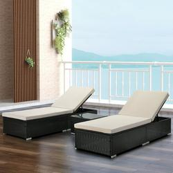 3 Pieces Wicker Patio Lounge Chair Set, Adjustable PE Rattan Chaise Lounge with Seat Cushion and Side Table, Outdoor Lounger Recliner for Garden, Balcony, Poolside, Patio, Deck, Backyard, TR19