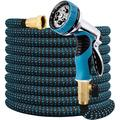 """Expandable Garden Hose 50FT Water Hose with 9 Function Nozzle and Durable 3-Layers Latex, Extra Strength 3750D Flexible Hose with 3/4"""" Solid Brass Fittings and High Pressure Water Spray Nozzle Hoses"""