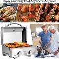 Portable TableTop Gas Grill Stainless Steel Two-Burner BBQ, with Foldable Leg, 20000 BTU, Perfect For Camping, Picnics or any Outdoor Use, 22'' x 18'' x 15'', Silver