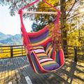 Athome Large Hammock Chair Swing for Kids Outdoor Hanging Chair Soft-Spun Cotton Rope Weaving Chair Hardwood Spreader Bar Wide Seat Swing Chair Indoor Garden Yard Theme Decoration Rainbow
