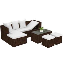 Ashata 4 Piece Garden Lounge Set with Cushions Poly Rattan Brown, 4 Piece Garden Lounge Set with Cushions, Garden Lounge Set with Cushions