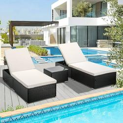 3 Piece Outdoor Patio Chaise Lounge Set, PE Wicker Lounge Chairs with Adjustable Backrest Recliners and Side Table, Reclining Chair Furniture Set with Cushions for Poolside Deck Patio Garden, K2680