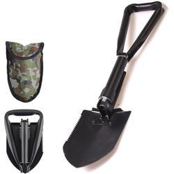 Folding Shovel, Carbon Steel Portable Outdoor Survival Shovel, Nylon Carry Case, Camping, Hiking, Digging, Backpacking, Car Emergency