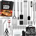ROMANTICIST 40-Piece BBQ Accessory Kit with Thermometer and Meat Injector, Heavy Duty Complete Stainless Steel BBQ Tool Set with Storage Bag, Best Grill Gift for BBQ Lovers on Birthday Christmas