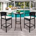 Outdoor High Top Table and Chair, Patio Furniture High Top Table Set with Glass Coffee Table, Removable Cushions, Outdoor Bar Table with Chair, Patio Bistro Set for Backyard Poolside Balcony, Q17064