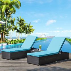Outdoor Chaise Lounger, 3Pcs Patio Chaise Lounge Chairs Furniture Set with Adjustable Back and Coffee Table, All-Weather Rattan Reclining Lounge Chair for Beach, Backyard, Porch, Garden, Pool, L4557