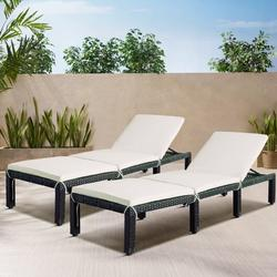 Chaise Lounges for Beach, Set of 2 Patio Furniture Set Outdoor Chaise Lounge Chairs with Adjustable Back, All-Weather Rattan Reclining Lounge Chair with White Cushion for Backyard, Garden, Pool, L4549