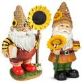 Honey Gnome with Sunflower On Hand Outdoor Garden Decorative Statue,Bee Day Cute Gnome with Sunflower Resin Garden Statue,Bedroom Desktop Gnomes Ornaments,Indoor Outdoor Decor