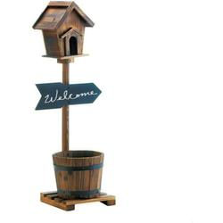Decor and More Store Rustic Welcome Wooden Birdhouse with Barrel Planter comes with Pedestal By Brand Decor and More Store