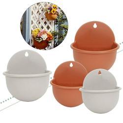 SPRING PARK Hanging Flower Planter Pots Plant Pot Flowerpot Half Round Shape Wall Mounted Resin Indoor Outdoor Flowerpots Removable Vase Home Garden Decor