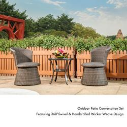 3Pcs Outdoor Dining Table and Chair, Table Set with Lounge Chair for Garden Backyard