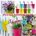 4Inch Iron Hanging Planters Multicolor Flower Pots Balcony Garden Railing Planter, Fence Hanging Metal Bucket Plants Holders Set for Indoor and Outdoor, 8 PCS