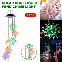 6 LED Solar Sunflower Wind Chime Changing Color Waterproof Solar Sunflower Wind Chimes Hanging Lantern Light for Home Party Bedroom Night Garden Decoration Gift