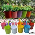 Hanging Flower Pots 8 PCS Metal Iron Flower Holders Basket Bucket Planters Balcony Garden Patio Planter Wall Fence Hanging Flower Pot with Detachable Hook Home Decor