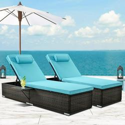 2-Piece Outdoor Patio Furniture Set Chaise Lounge, Patio Cushioned Reclining Rattan Lounge Chair Chaise Couch with Adjustable Back, Side Table, Head Pillow, Lounger Chair for Pool Garden, Q17006