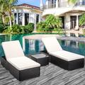 3 Pieces Outdoor Rattan Wicker Lounge Chairs Set, Adjustable Reclining Backrest Lounger Chairs and Table, Modern Rattan Chaise Chairs with Table & Cushions, Chaise Lounge for Pool, Yard, Deck, K2932