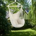 Kepooman Cotton Canvas Hammock Hanging Rope Chair, Hanging Bubble Chair Porch Swing Seat Swing Chair Camping Portable for Patio, Deck, Yard, Indoor Bedroom Garden with 2 Pillows, Beige