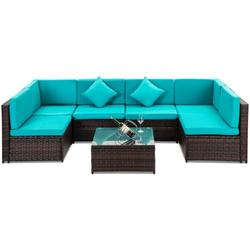 7-Piece Patio Furniture Sets on Sale, 7-Piece Wicker Patio Conversation Furniture Set w/ Seat Cushions, 2 Pillows & Tempered Glass Coffee, Wicker Sofa Sets for Porch Poolside Backyard Garden, S7211