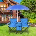 Portable Outdoor 2-Seat Folding Beach Chair with Removable Sun Umbrella, Camping Folding Chair for Adults, Comfortable Lightweight Portable Heavy Duty Folding Lawn Chairs for Outdoor Beach Pool, T126