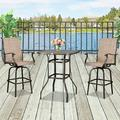 Patio Swivel Bistro Set, 3 Piece Outdoor Bar Table and Stools Set, 2 Patio Swivel Bar Chairs with 1 High Glass Top Table, All Weather Metal Frame Furniture Set for Garden Yard Balcony Pool Cafe, B04