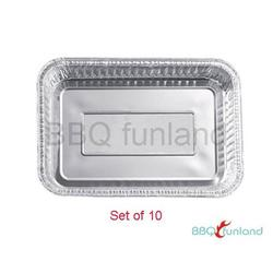 "BBQ funland 8.5"" X 6"" Aluminum Drip Pans, Set of 10 Foil BBQ Grease Pans"