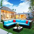 Wicker Patio Furniture Dining Sets, 5 Piece Rattan Outdoor Sectional Sofa with 2 Pillow, Blue Cushions and Coffee Table, Outdoor Conversation Sets for Backyard Lawn Poolside Garden Deck, W15964