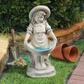 Design Toscano Sophie in her Sundress Garden Statue Bird Bath Feeder, 21 Inch, Polyresin, Antique Stone