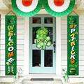 St Patricks Porch Sign - St Patricks Day Decorations Outdoor Indoor - Happy St Patricks Day and Welcome Banner Decor for Home Wall Door