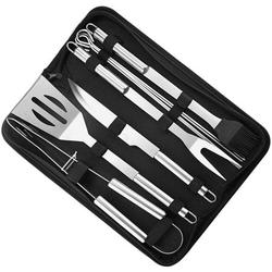 9pcs BBQ Accessories Stainless Steel BBQ Grill Tools Set - Premium Barbecue Grill Utensils Set in Aluminum Case - Perfect Grilling Presents Kit for Dad Men Women (BBQ Tool Set - (9 pcs))
