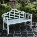 MF Studio Outdoor Patio Acacia Wood Bench White, PU Coating Wooden Bench with Backrest and Armrests for Porch, Patio, Garden, Lawn, Balcony, Backyard and Indoor, 53.0�Wx24.4�D x38.2�H, White