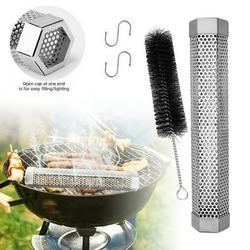 """12"""" Pellet Smoker Tube, Stainless Steel Smoker Tube Pellet, BBQ Wood Pellet Tube Smoker for Cold/Hot Smoking, Hexagon"""