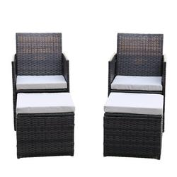 4 Pieces Outdoor Rattan Conversation Sets, Accent Chair with Ottoman Set, Patio Furniture Set with Arm Lounge Chair and Ottomans for Living Room, Garden, Balcony, Backyard, K3435