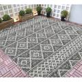 HR Indoor Outdoor Area Rugs 8x10 Trellis Pattern Gray Outdoor Carpet-Lasts Long Under Sunlight Bohemian Rugs-Grey Ivory