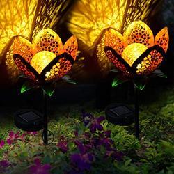 Large Metal Glass Solar Flowers Yard Art, Garden Solar Lights Outdoor,Solar Powered Stake Lights,Decorative Garden Lights for Walkway,Pathway,Yard,Lawn,2Pack