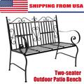 Garden Bench Outdoor Bench Patio Bench Steel Garden Bench Loveseat Outdoor Furniture for Patio, Park, Lawn, Deck w/Floral Rose Accent, Antique Finish Black