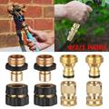 Hose Quick Connector, 4/2/1 Pairs 3/4 Inch Garden Hose Fitting Quick Connector Adapter Set, Universal Standard Brass Garden Hose Quick Connector Kit, Male and Female connects for Watering Devices