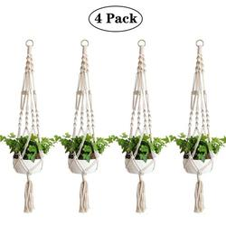Amerteer Macrame Plant Hanger, 4 Pack Plant Hanger, Cotton Rope Plant Hangers Indoor Outdoor, 4 Legs Plant Hanger Brackets, Flower Pot Hanging Plant Holder for Home Decorations 41 Inches