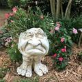 Menard 15cm Humorous Statue Planter Flower Pot,Old Couple Muggly Face Sculptural Planter Grampa Granny Statue Ornaments Decoration,for Patio Lawn Yard Decoration (White)